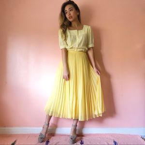 Whistles Pale Yellow Pleated Midi Skirt